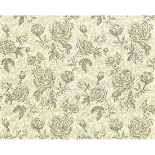 EDEM 687-95 non-woven wallpaper XXL floral pattern roses green cream 10.65 sqm