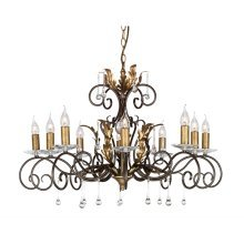 Bronze/Gold 10lt Chandelier - 10 x 60W E14 by Happy Homewares