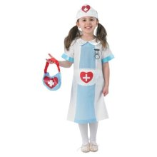 Medium Girls Nurse Costume - Fancy Dress Kids Rubies Official Hospital -  nurse fancy dress kids rubies medium official costume girls hospital