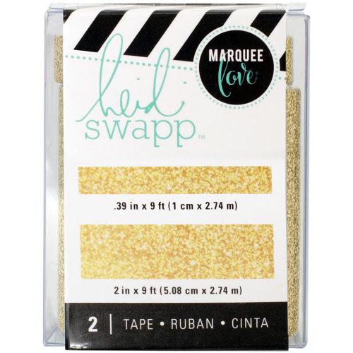 """Heidi Swapp Lightbox Tapes .4""""X9' & 2""""X9'-Gold Glitter"""