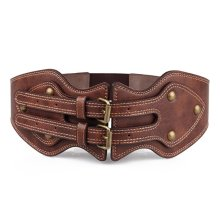 Women PU Leather Needle Buckle Elastic Wide Belt Brown Color Wistband Strap