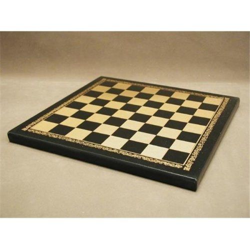 Pressed Leather Black and Gold Chess Board - 1 in. Square