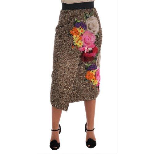 Dolce & Gabbana Gold Floral Silk Below Knee Shift Skirt