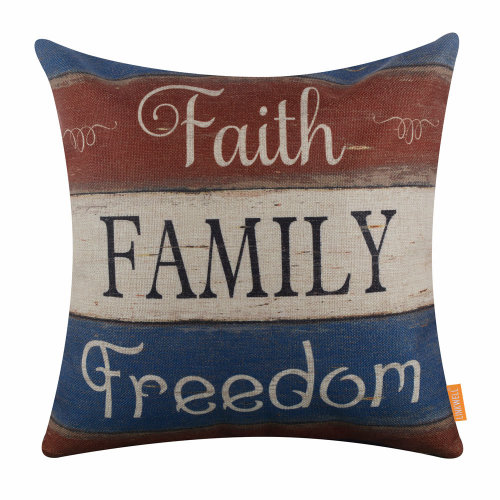 """18""""x18"""" Independence Day Holiday Faith Family Freedom Burlap Pillow Cover Cushion Cover"""