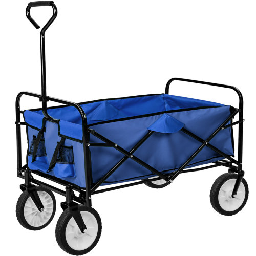 Foldable pull along trolley blue