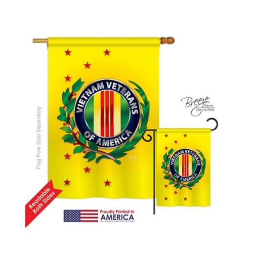 Breeze Decor 08235 Military Vietnam Veteran 2-Sided Vertical Impression House Flag - 28 x 40 in.