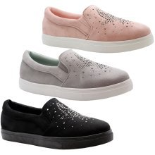 Womens Flat Slip On Diamante Trainers Sneakers