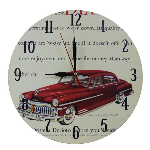 Obique Home Decoration Nostalgic Red Car Scene 28cm MDF Wall Clock