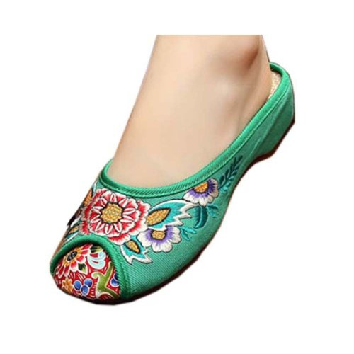Womens Embroidered Summer Slippers Wedges Sandals Shoes for Cheongsam, #14