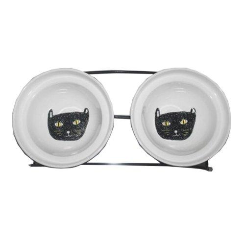 Little Double Bowls Set Ceramic Feeding Pot/Pet Bowls/Dog Bowls/Cat Bowls For Food & Water S Size(C#10)