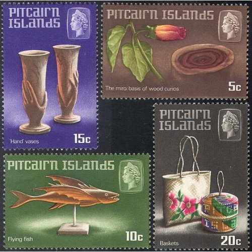 """Pitcairn Is 1968 Fish/ Flower/ """"Hand"""" Vases/ Basket/ Handicraft/ Craft 4v set (n23452a)"""