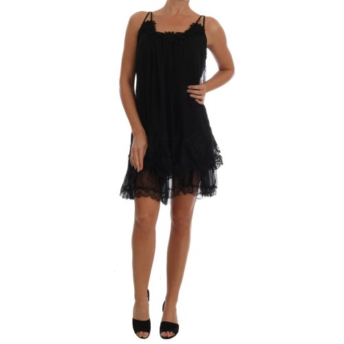 Dolce & Gabbana Black Silk Lace Chemise Dress
