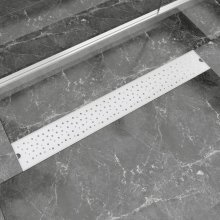 vidaXL Linear Shower Drain Bubble 830x140 mm Stainless Steel
