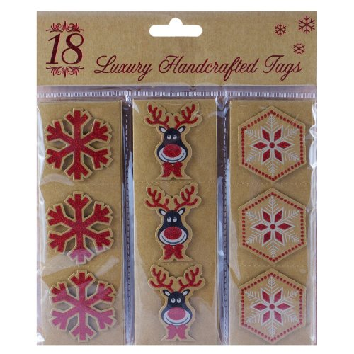 Pack Of 18 Christmas Modern Handcrafted Gift Tags - Snowflakes & Rudolf