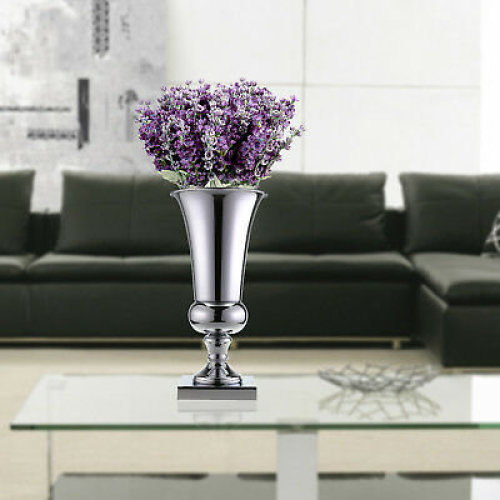 43cm Large Stunning Silver Iron Luxury Flower Vase Urn Wedding Table Home Decor