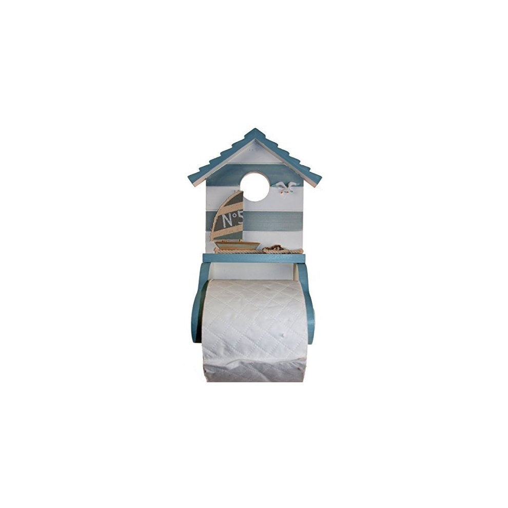 WOODEN BEACH HUT TOILET ROLL HOLDER by Cauldron Gifts