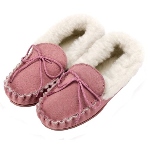 eecac3d8d90 Lambland Ladies Pale Pink Moccasin Slippers with Hard Sole on OnBuy