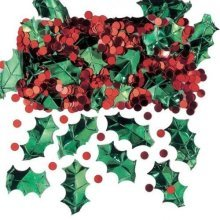 Holly with Berries Metallic Embossed Confetti Mix 14g -