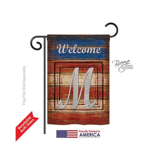 Breeze Decor 80117 Patriotic M Monogram 2-Sided Impression Garden Flag - 13 x 18.5 in.