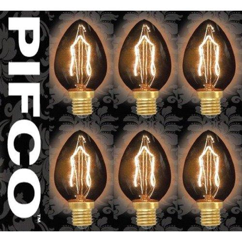 6 X PIFCO C35 40 Watt E14 SES Vintage Candle Retro Light Bulbs