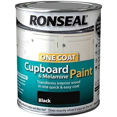 Ronseal One Coat Cupboard Melamine & MDF Paint 750ml -HIGH GLOSS Black