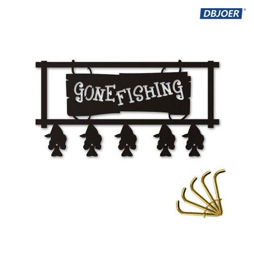Go Fishing Wood Coat Hook Creative Fishing Art Decor Wall Mounted Hanger  Hooks for Bathroom Living Room