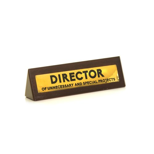 Wooden Desk Sign - Director  Of Unnecessary and Special Projects