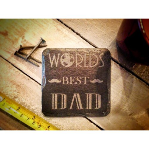 'World's Best Dad' Square Slate Coaster 11cm | Father's Day Coaster Gift
