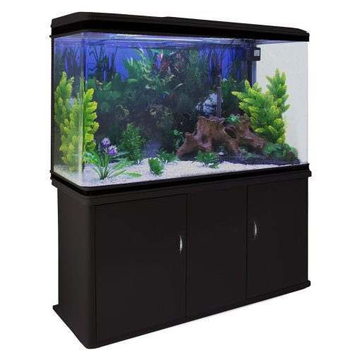Aquarium Fish Tank Cabinet & Complete Set Up Black Tank White Gravel