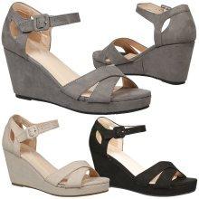 Anusha Ladies Strappy Summer Casual Peep Toe Platform Wedge Heel Sandals