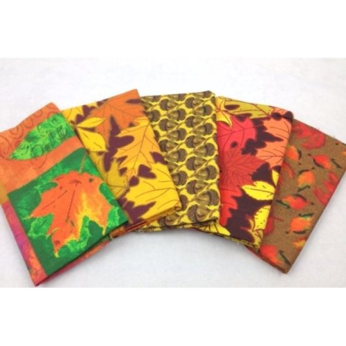Fat Quarters Bundle - 100% Cotton - Falling Leaves - Pack of 5