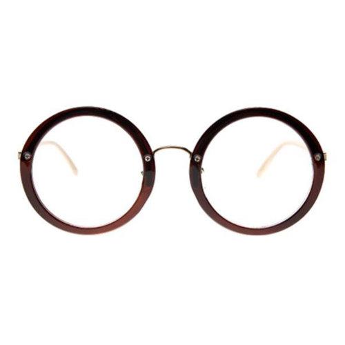 Retro Round Glasses Frames Fashion Flat Glasses -Dark Brown