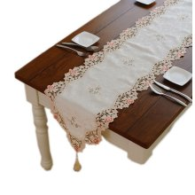 Delicate Flower Embroidery Damask Table Runner 15.5*67.5 Inches