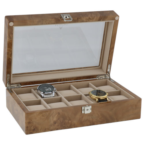 Watch Box for 10 Wrist Watches in Light Burl Wood by Aevitas