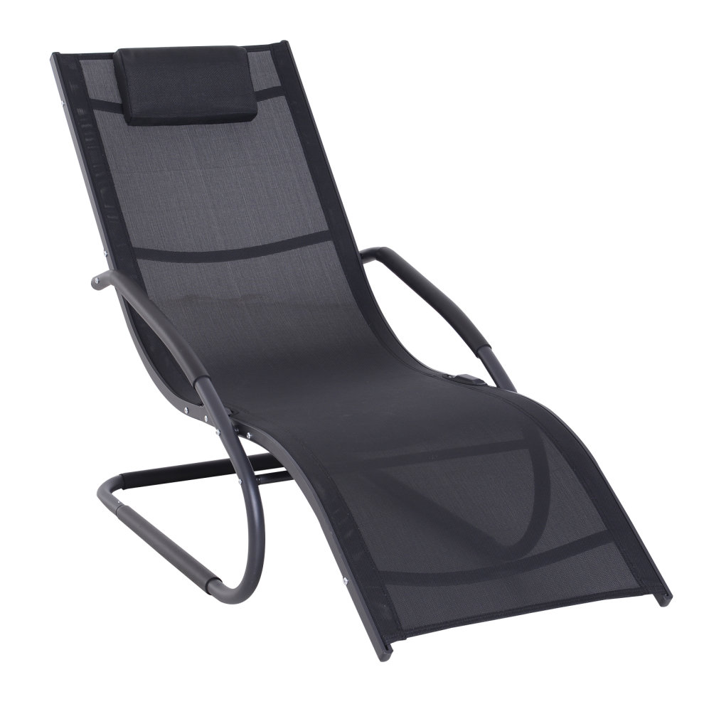 Amazing Outsunny Outdoor Rocking Chair Sun Lounger Recliner Rocker Texteline Fabric Aluminium Frame Patio Garden Relaxer With Pillow Black Ocoug Best Dining Table And Chair Ideas Images Ocougorg