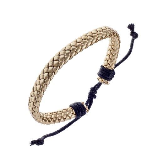 Urban Male Genuine Gold Leather Plaited Surfer Bracelet