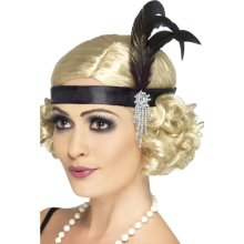 Smiffy's Adult Women's Satin Charleston Headband With Feather And Jewel Detail, -  headband charleston black feather 1920s fancy dress satin flapper