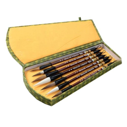 7 PCS Chinese Calligraphy / Kanji Brush Set (Goat Hair, Jian Hair, Wolf Hair)