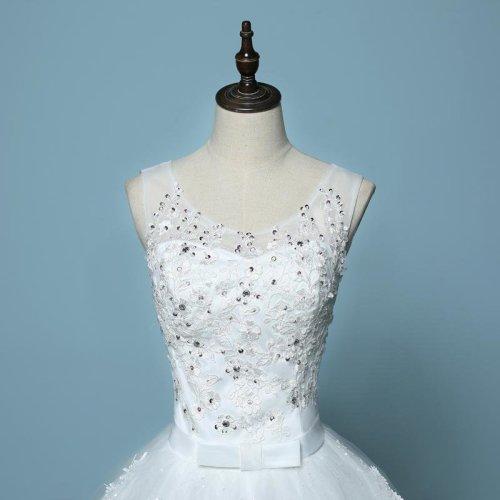 New Style V-Neck Sweep Brush Train Tank Sleeve White Bow Waist Wedding Dress Custom Made C017