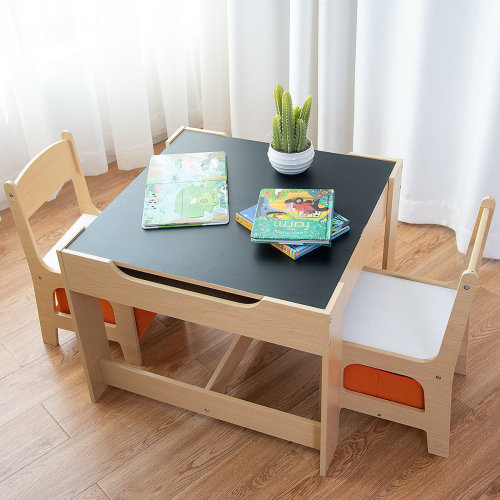 Kids Table&Chairs Set Double Side Tabletop Desk Wood