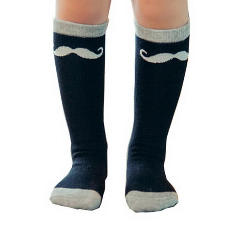 2 Pairs Knee High Stockings Unisex-baby Tube Socks for Kids [Mustache, Black]