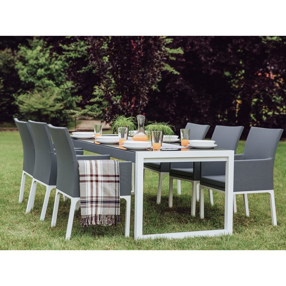 Beliani BACOLI Outdoor Table & Chair Set | 6 Seater Garden Dining ...