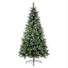 Premier 2.4m Sugar Pine Iced Tipped Christmas Tree with Berries & Cones (TR800SUP)