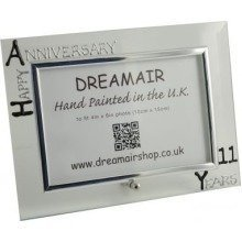 Personalised 11th Wedding Anniversary Photo Frame Steel Anniversary (landscape)
