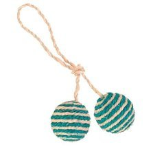 2 Cat Balls On A Rope, Sisal, Ø 4.5cm - Great Seller - Cats Love This! - Trixie -  trixie cat toy 2 blle rope sisal new