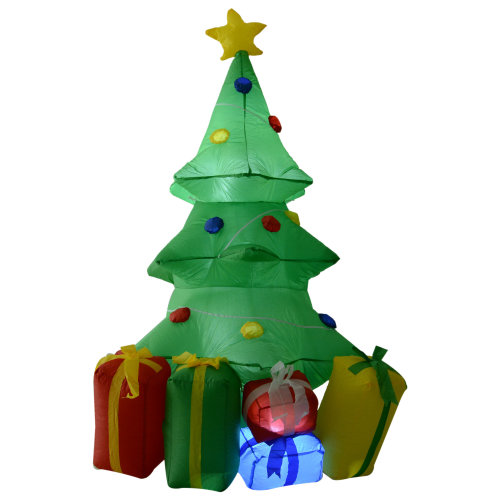 Inflatable Christmas Tree.Homcom 1 5m Inflatable Christmas Tree Xmas Air Blown Holiday Decoration Led Light Lawn Yard Outdoor Ornaments