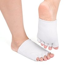 uxcell White Open Toe Moisturizing Dry Skin Comfy Spa Treatment Gel Socks 1 Pair