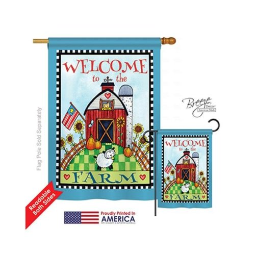 Breeze Decor 00063 Welcome Down on the Farm 2-Sided Vertical Impression House Flag - 28 x 40 in.