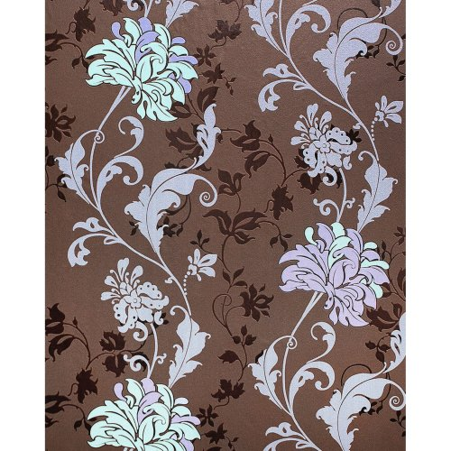 EDEM 833-26 luxury floral design flowers wallpaper brown lilac mint 2.3 ft