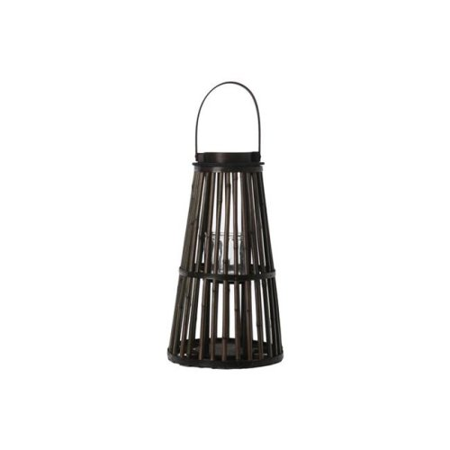 Urban Trends Collection 16503 Bamboo Round Lantern with Top Handle Black Rim Mouth Hurricane Glass Candle Holder & Flared Bottom, Varnish - Large